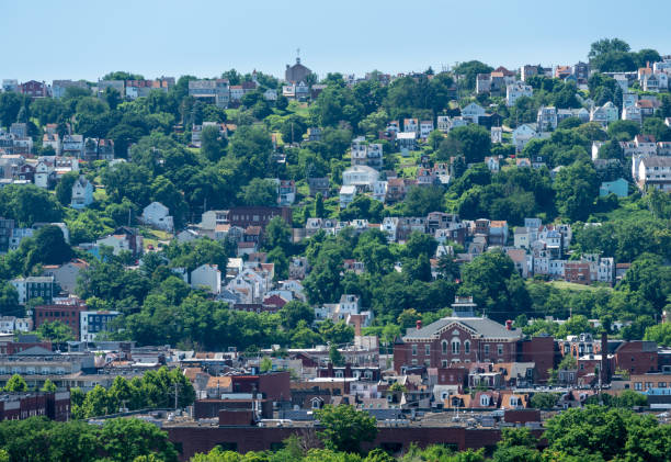Heat haze over South Side slopes in Pittsburgh Heat haze provides an abstract look to the homes on South Side Slopes in Pittsburgh PA pittsburgh stock pictures, royalty-free photos & images