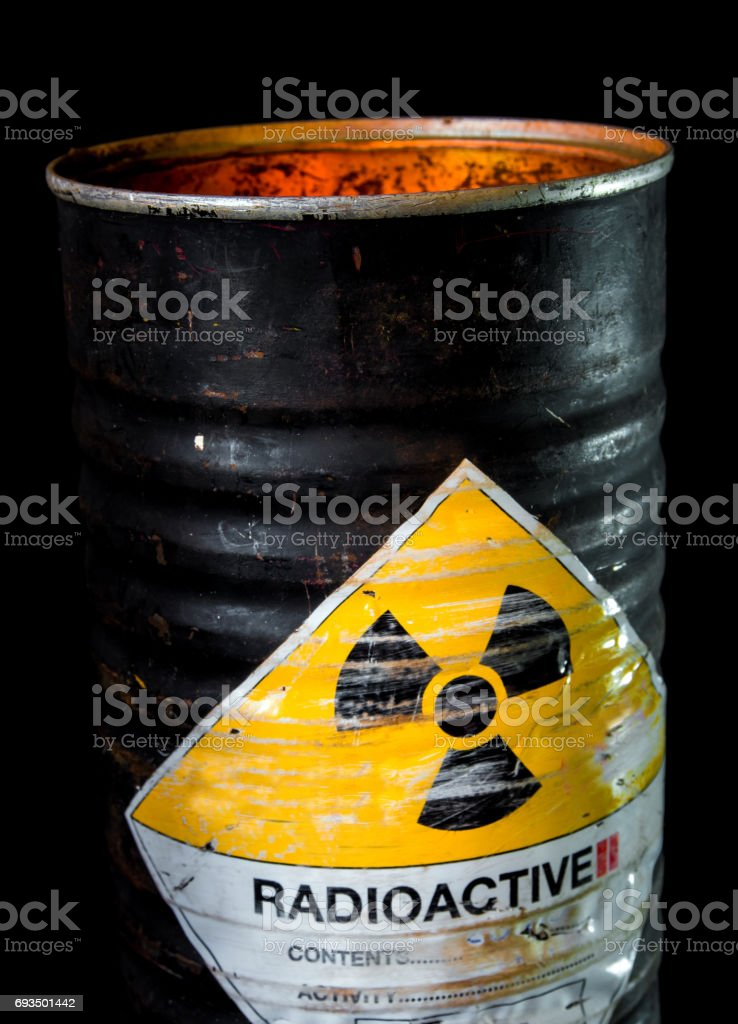 Heat in cylinder container of radioactive material stock photo