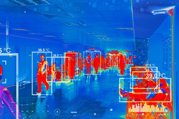 wärmemesskamera - medizinischer scanner stock-fotos und bilder