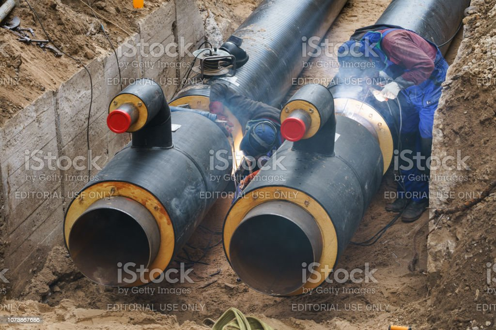 Heat pipe replacement works stock photo