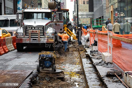 New York, United States - February 8, 2019 Heat pipe replacement works in Manhattan, New York City