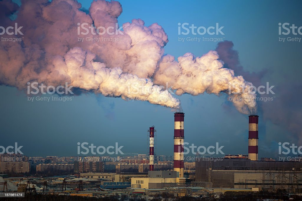 Heat power station in winter stock photo