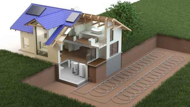 heat pump, ground source - diagram stock pictures, royalty-free photos & images