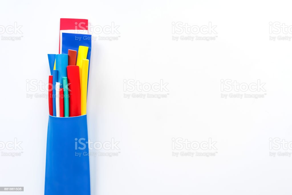 Heat shrink tubing components for cables isolation stock photo