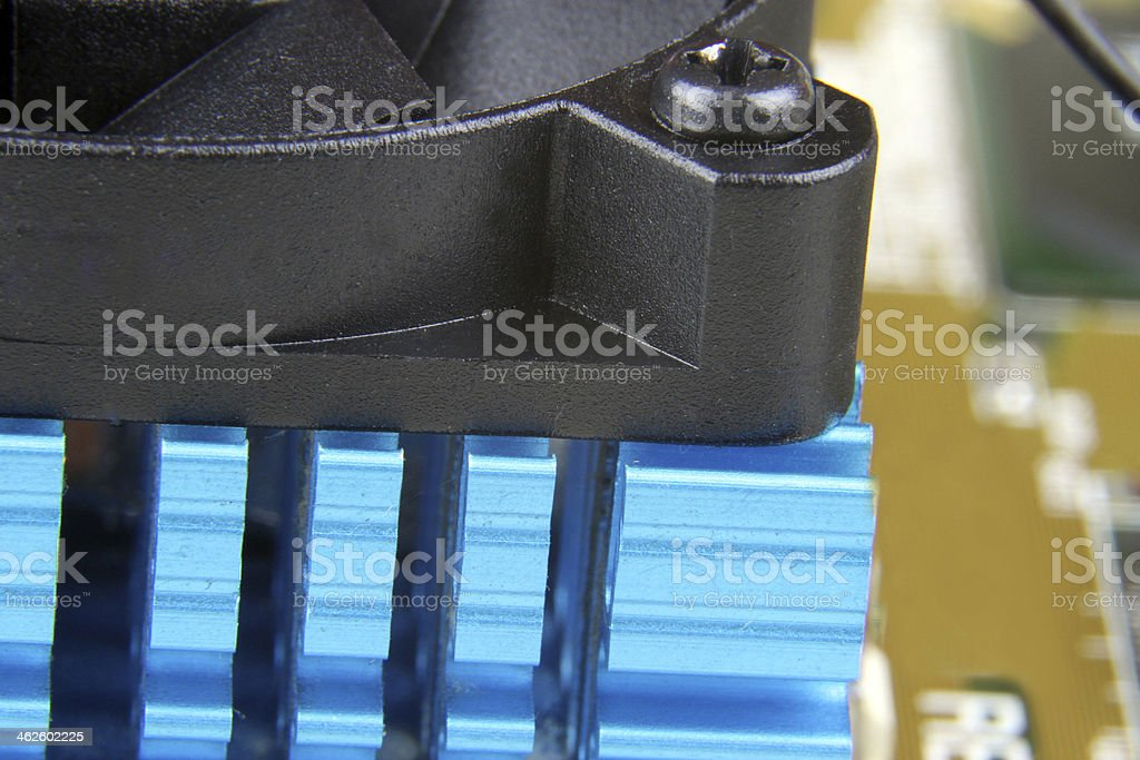 Heat Sink and Cooling fan stock photo