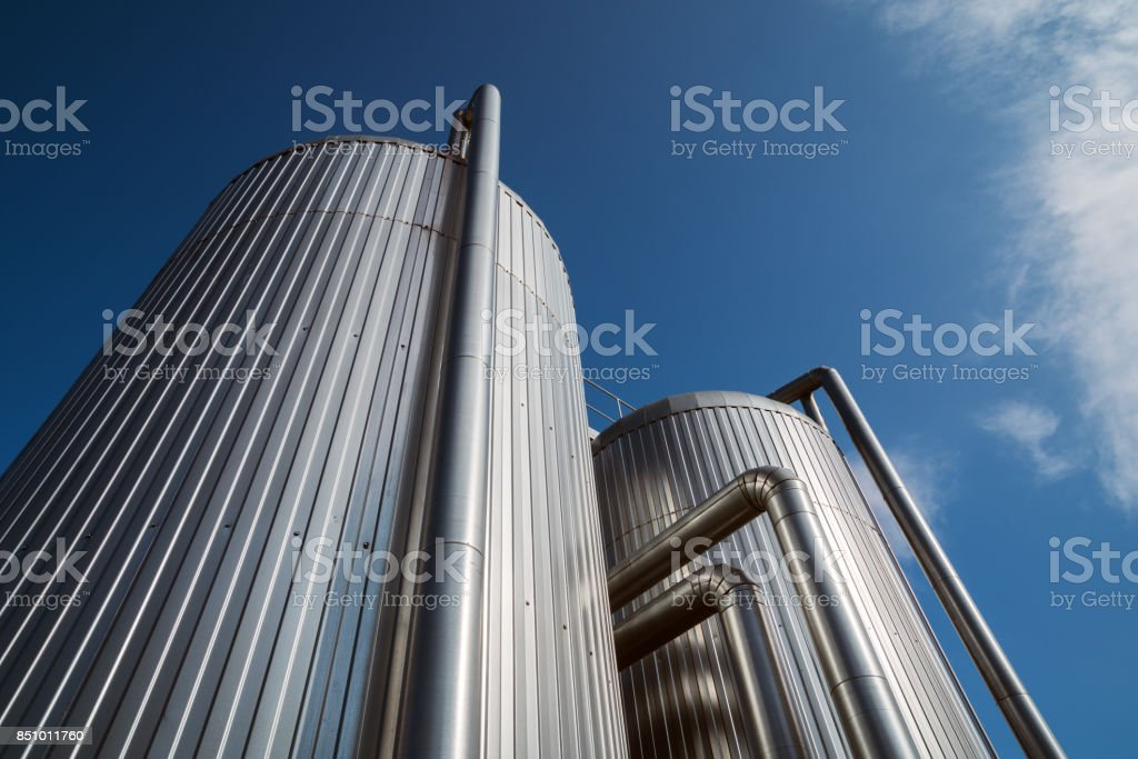 Heat storage tanks stock photo