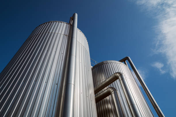 Heat storage tanks stock photo