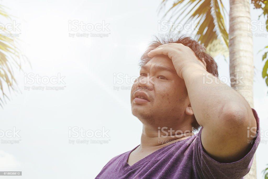 Heat stroke on the sun stock photo
