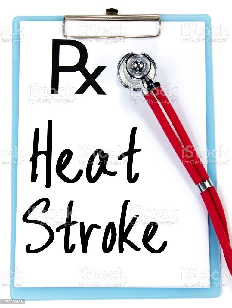 heat stroke text write on prescription stock photo
