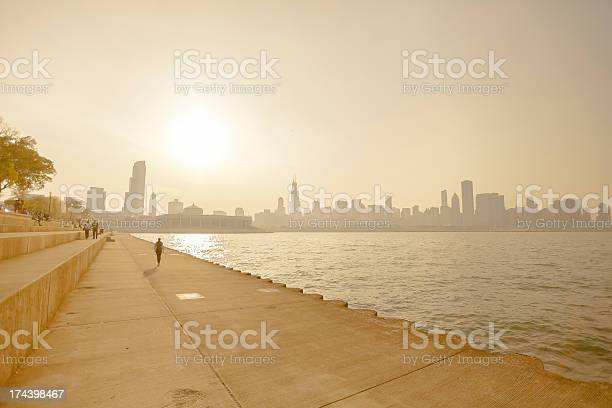 A Heat Wave And Smog On The Shoreline Of A Cityscape Stock Photo - Download Image Now