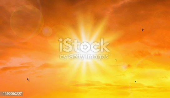 istock Heat wave of extreme sun and sky background. Hot weather with global warming concept. Temperature of Summer season. 1150050227