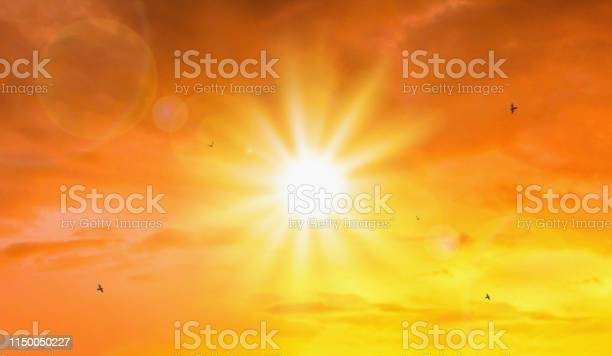 Photo of Heat wave of extreme sun and sky background. Hot weather with global warming concept. Temperature of Summer season.
