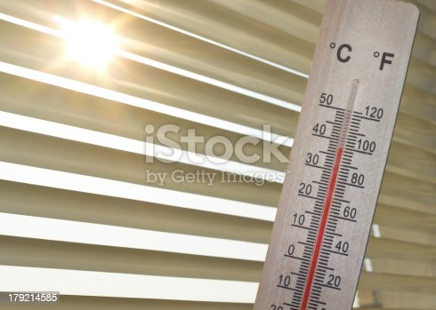 thermometer with a 100 degrees Fahrenheit (38 degrees Celsius) in front of the blinds and the Sun in the back.