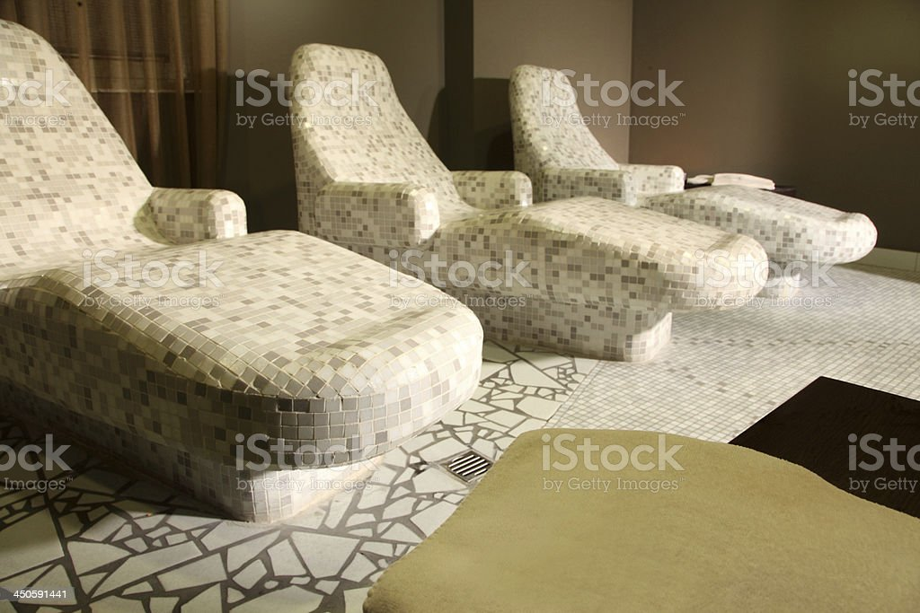 heated stone loungers royalty-free stock photo