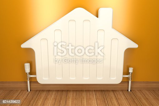 istock Heater radiator on yellow wall in house. 3d image 624439622