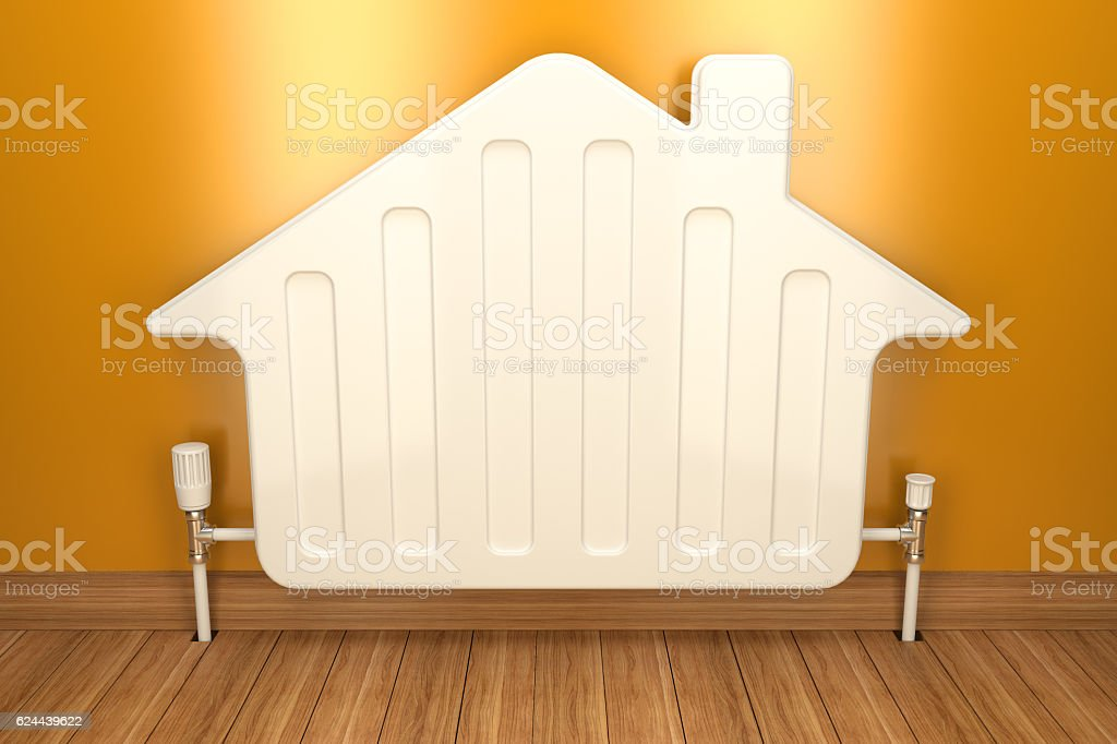 Heater radiator on yellow wall in house. 3d image stock photo