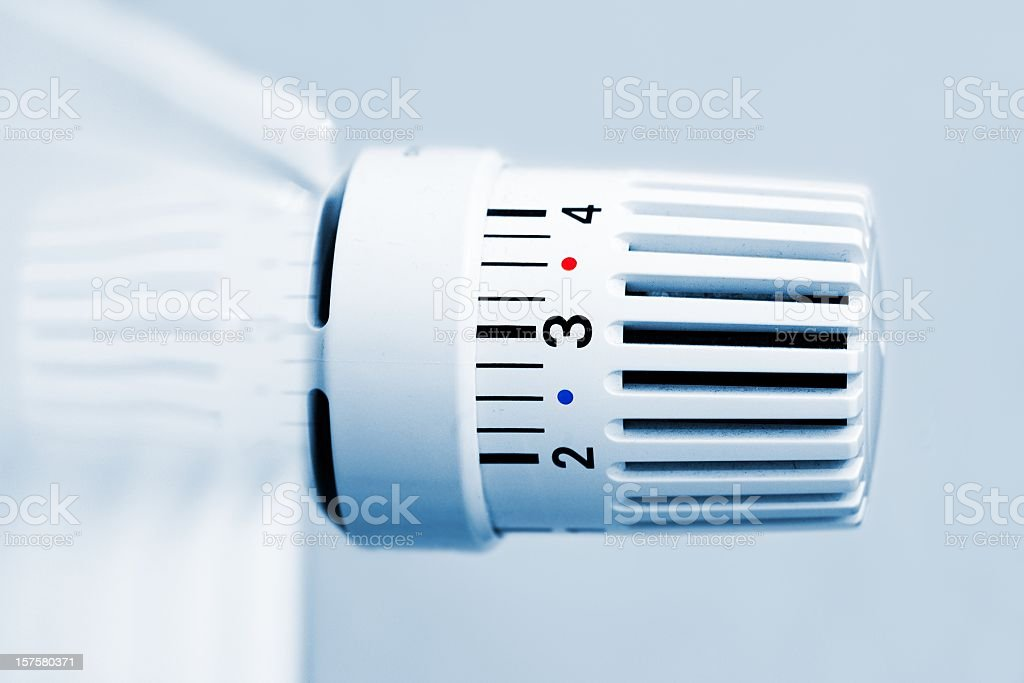 Heater thermostat close up stock photo