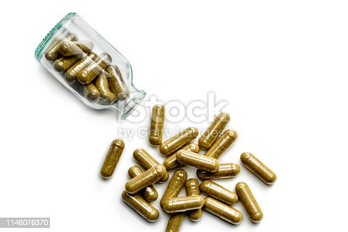 Heath Themes. Close up of bottle with nutritional supplements on white background