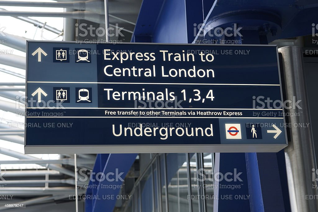 Heathrow Terminal 5 sign stock photo