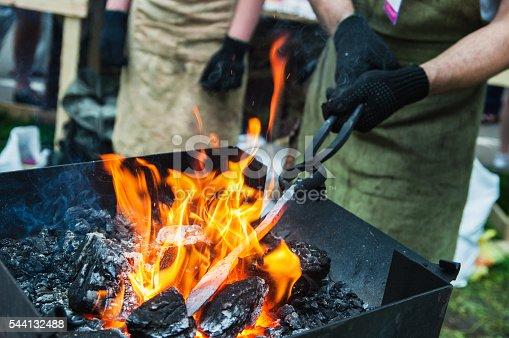 istock heating a metal workpiece 544132488