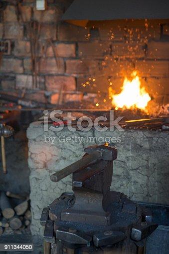 istock Heating a metal workpiece 911344050