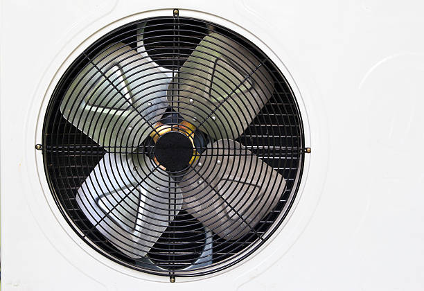 heating and AC unit used in a residential home stock photo