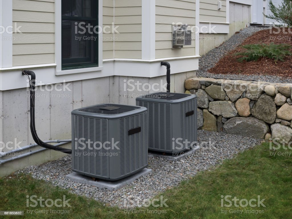 Heating and air conditioning home units stock photo