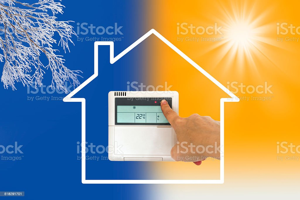 Heating and cooling air conditioner concept stock photo