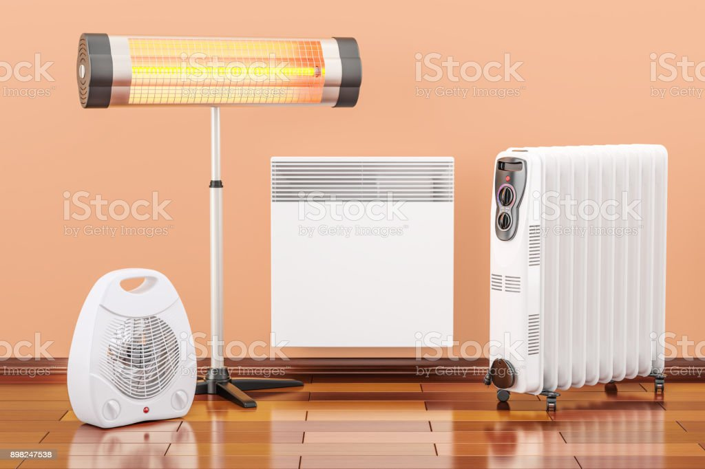 Heating devices. Convection, fan, oil-filled and infrared heaters, 3D rendering stock photo
