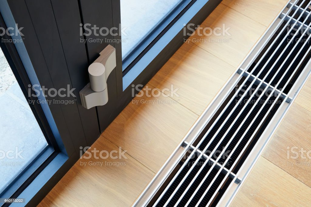 Heating grid with ventilation by the floor. stock photo