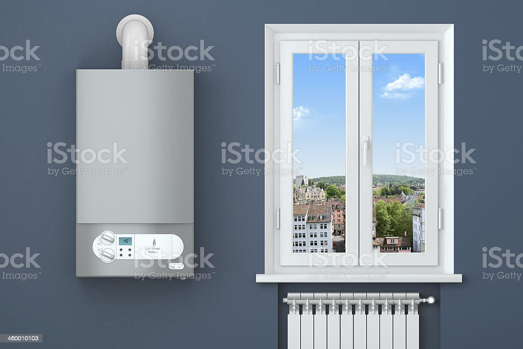 Heating house. Gas boiler, window, radiator. stock photo