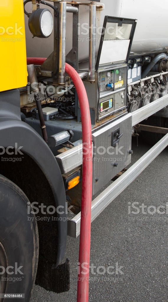 Heating oil delivery, pipework from the oil tanker stock photo