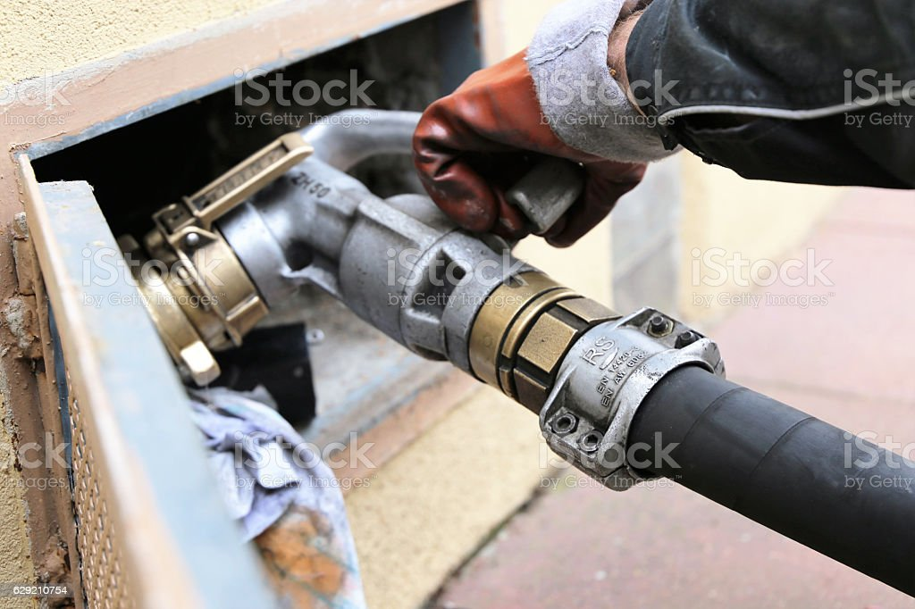 Heating oil is delivered stock photo
