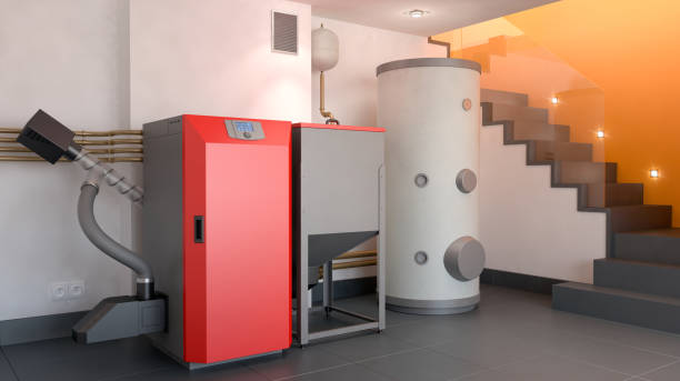 sistema de aquecimento, ilustração 3d - equipamento industrial - fotografias e filmes do acervo