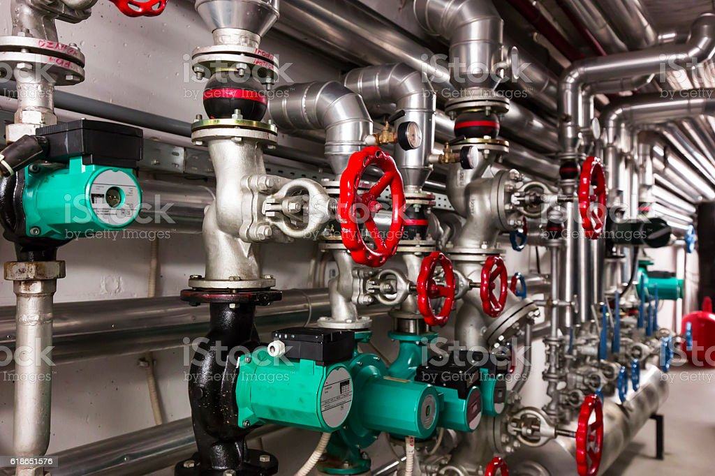 heating system control equipment stock photo