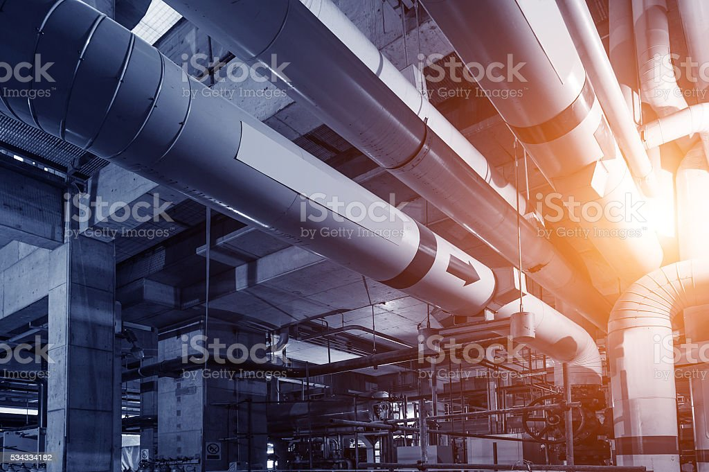 heating system equipment in a boiler room stock photo
