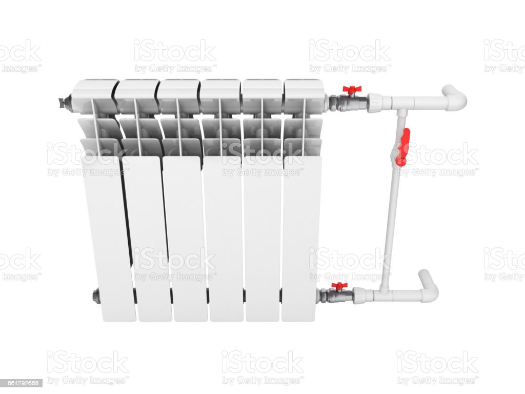 Heating white radiator isolated on white background 3d without shadow royalty-free stock photo
