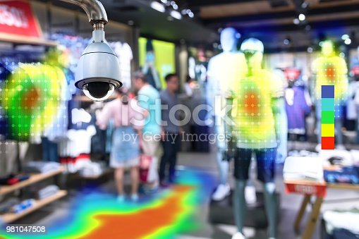istock Heatmap Analytic in smart fashion retail shop technology concept. Artificial intelligence cctv of security camera with heat sense application check shoppers passed from any point in store. 981047508