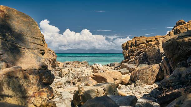 Heaven beach Playa Larga of Contadora island stock photo
