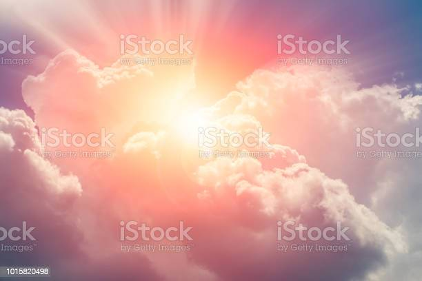 Photo of heaven cloud sky sunny bright for future wealth fortune day concept