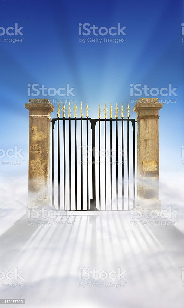 Heaven Gate on Clouds + copy space royalty-free stock photo