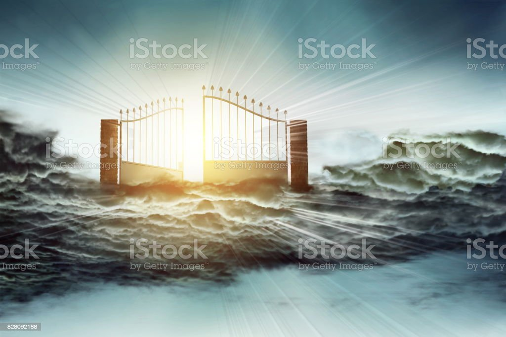Heaven gate to God blessing stock photo