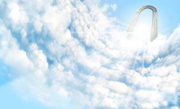 heaven in the clouds - engelportal stock-fotos und bilder