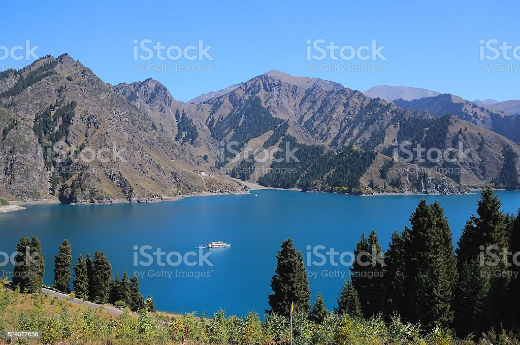 Heaven Lake of Tian Shan in Fukang, Changji, Xinjiang, China. stock photo