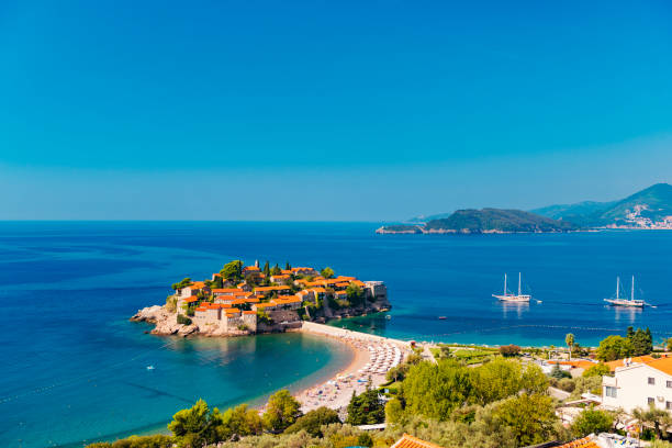 Heaven on Earth – Sveti Stefan, Montenegro stock photo