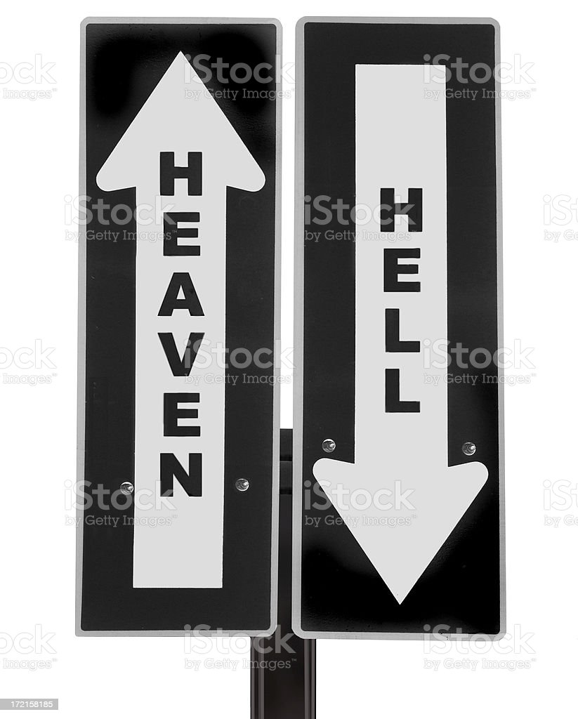 Heaven or Hell roadsign royalty-free stock photo