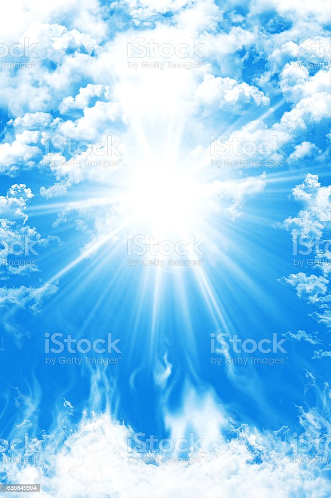 Heaven With Blue Sky, Clouds And Sun Light Background stock photo