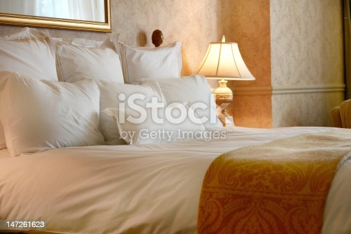 Heavenly king sized bed with Egyptian cotton sheets and goose down pillows.