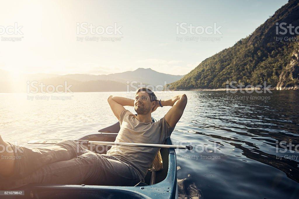 Himmlische Pflegeprodukte von Glückseligkeit auf den See - Lizenzfrei Abenddämmerung Stock-Foto