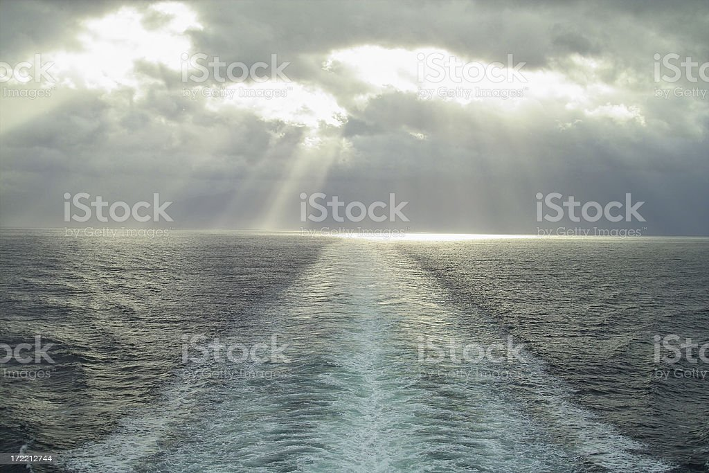 Heavenly Cruise Ship Wake royalty-free stock photo